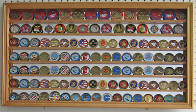 Challenge Coin Display Case Wall Shadow Box Cabinet, with Mirror Back, COIN4-OA