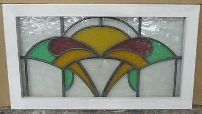 "LARGE OLD ENGLISH LEADED STAINED GLASS WINDOW Abstract w/ Bullseye 29.75"" x 17"""
