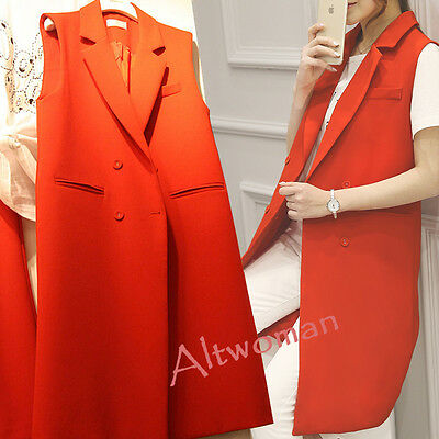 Women's Casual Slim Fit Double Breasted Lapel Long Vest Sleeveless Coat Outwear