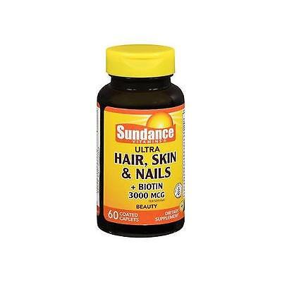 5 Pack Sundance Hair, Skin, Nails Plus Biotin 5000mcg Tablets 60 Count Each