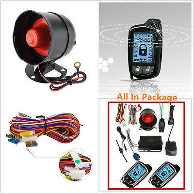 Universal 2 Way Car Alarm Security System With 2 Pcs LCD Controlers Anti-theft