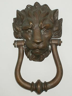 Vtg Antique Cast Brass or Bronze Lion Head Foundry Front Door Knocker detailed