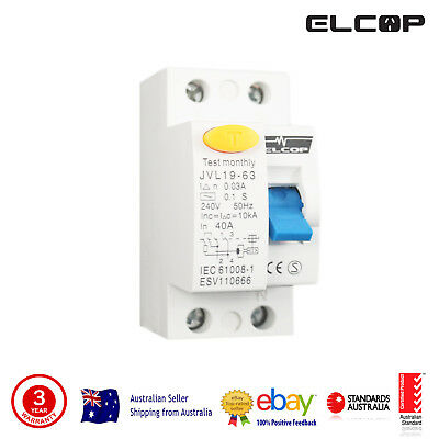Elcop RCD 2 Pole 40A 10 KA  Safety Switch (AUSTRALIAN APPROVED, HIGH QUALITY)