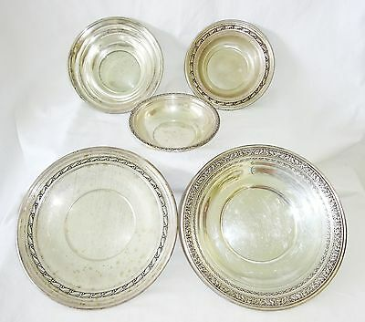 5x Vtg US Sterling Silver Mixed Plate Lot by Randahl, International, D&H (Kow
