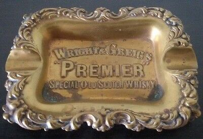 Vintage PREMIER SCOTCH WRIGHT & GREIG  Whisky BRASS TRAY Advertising ASHTRAY