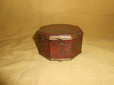 Box Octagonal Shape Made Of Rouge Marble And Brass Fittings.