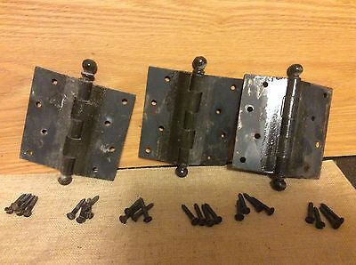 "Vintage Antique Heavy Duty School Solid Door Hinges  4 1/2"" x 4 1/2"" Lot of 3"