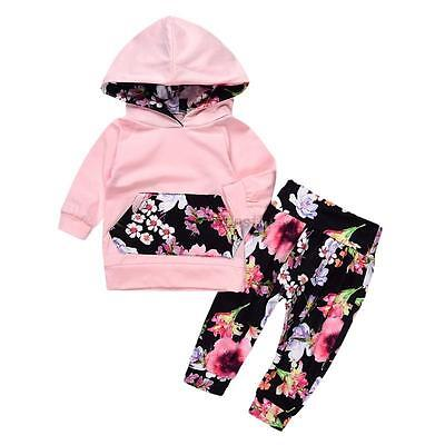 Kids Baby Girls Floral Hooded Sweatshirt Tops +Pants Outfits Clothes Set Winter