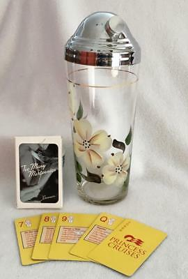 Vintage Hand Painted COCKTAIL SHAKER & Deck of Princess Cruises Drink Cards