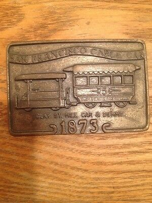 VINTAGE 1970s ***SAN FRANCISCO CABLE CAR - CLAY ST.*** BELT BUCKLE