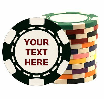 500 Custom Poker Chips, Imprinted with Your Personalized Text on One Side