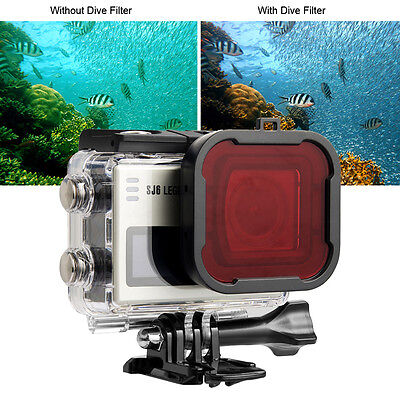 Red Filter Protection Dive Waterproof Housing For SJCAM SJ6 LEGEND Action Camera