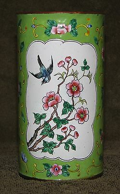 Beautiful Vintage Chinese Famille Rose Green Enamel Birds & Flowers Brush Pot
