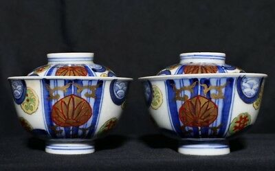 A Pair of Large Antique Chinese Polychrome Porcelain Cover Cups FA382