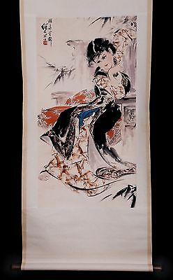 Exquisite Rare Old Chinese Scroll Hand Painting Woman Marked Ji Lu KK824