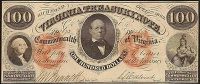 Large 1862 $100 Dollar Bill Richmond Virginia Treasury C Note Currency Money