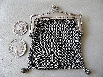 Antique Art Deco Silver  T Chatelaine French Doll Mesh 2 Ball Tassel Coin Purse