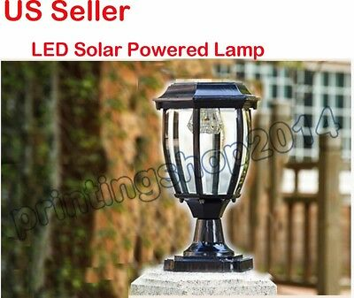 Aluminum LED Solar Powered Lamp Fence Gate Post Light Outdoor Garden Yard