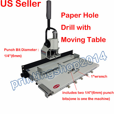 """1/4"""" 6mm Hole Paper Hole Drill Punch Machine 300 Sheets Two Cut Die Moulds"""