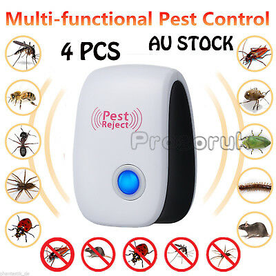 4 X Pest Repeller Electronic Ultrasonic Mouse Rat Mosquito Insect Rodent Control
