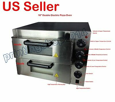 "New 220V 16"" Double Deck Electric Pizza Oven Commercial Ceramic Stone"