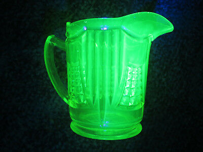 LARGE CITRINE URANIUM GLASS PATTERNED JUG c1930 AUSTRALIAN MADE by CROWN CRYSTAL