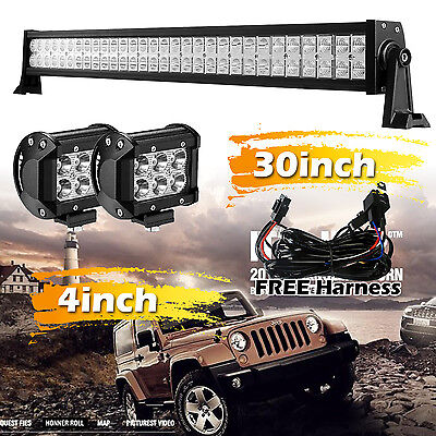 "30 inch Led Light Bar 180W + 2x 4"" Led Pods CREE Truck Driving Jeep Ford SUV 32"""