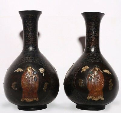 A Pair of Large Rare Antique Chinese Bronze Vases Bottles Collection US157