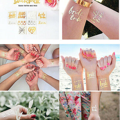 12Pcs Gold Team Bride Temporary Tattoo Stickers Shower Party Wedding Decoration
