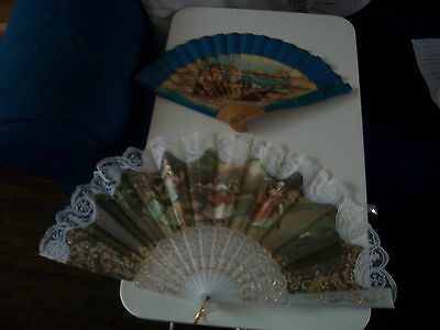 Two X Vintage Folding Hand Fans £12.99