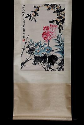 Fabulous Wonderful Rare Old Handmade China Paper Landscape Scroll Painting PM052