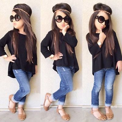 2PCS Toddler Kids Baby Girl Outfit Clothes Long Sleeve Shirt Tops+Jeans Pants UK