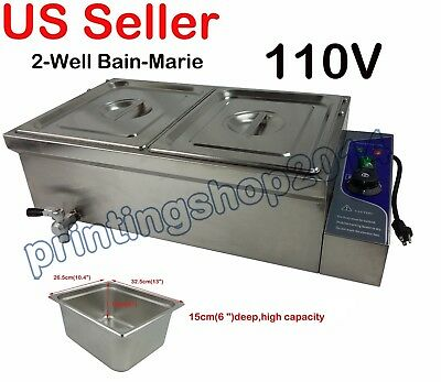 110V Commercial Bain-Marie Buffet Food Warmer 2-Well/Pots/Pans Steam Table