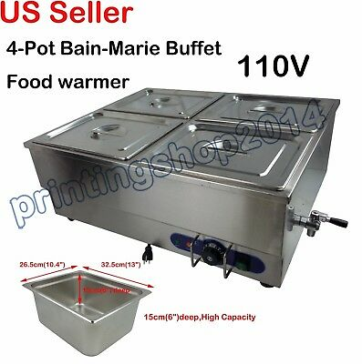 "Bain-Marie Buffet Food Warmer 4-Pan Steam Table Restaurant 6"" deep pan 110V"