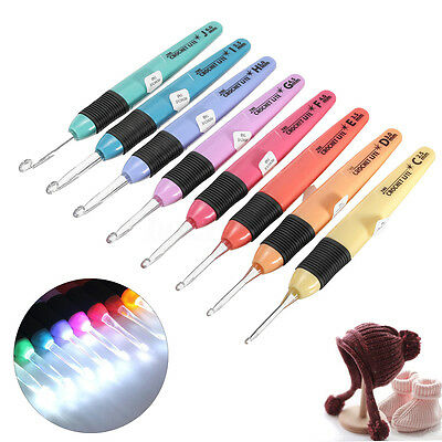 8PCS LED Crochet Lite Hook Set Light Up Knitting Needles Weave Sewing Craft Tool