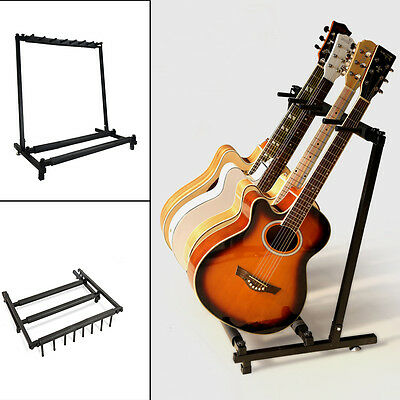 Black 5 Ways Multi Guitar Rack Stand Padded Electric Acoustic Bass Holder New