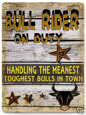 Bull rider METAL sign cowboy rodeo / vintage style MANCAVE wall decor art 183