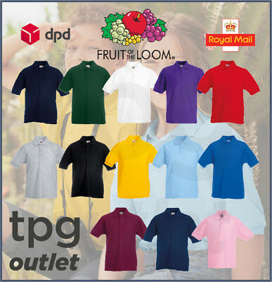 Fruit Of The Loom Kids Polo Shirt Plain Boys Girls Childrens School Polo Lot
