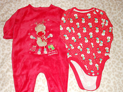 UNISEX Christmas Suit and L/S Body In Size 3-6 Months