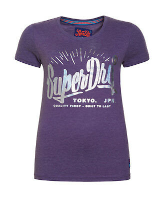 New Womens Superdry Factory Second Built To Last T-Shirt Lex Purple Marl