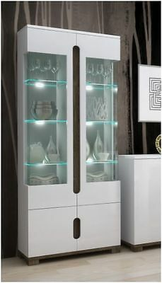 Bon Lorenz High Gloss White Tall Glass Display Cabinet Unit Lounge Furniture  LEDs