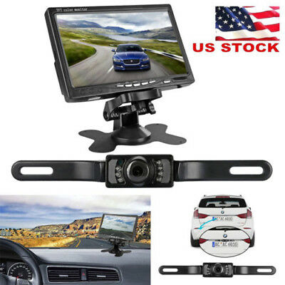 "7"" TFT LCD Car Rear View Backup Monitor +Parking Night Vision Reverse Camera Kit"