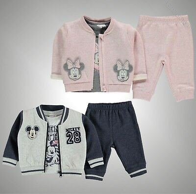 Babies Boys Girls Branded Disney Print Tracksuit 3 Piece Set Size 0-24 Mnth