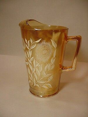 "Lovely Decorated Jeannette Depression Glass Pitcher ""Cosmos"" Iredescent Marigold"