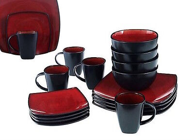 Red Square Dish Set 8 Dinnerware Dining Plates Dishes Mugs Bowls Piece 32  Piece