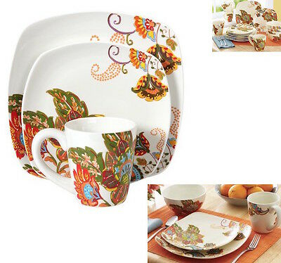 White Floral Dinnerware Dining Dish Set 4 Dishes Plate Bowls Mugs Cups 16  Piece