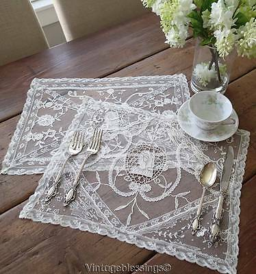 Delicate c1900 Handmade ANTIQUE Figural Italian Lace Tray Cloths