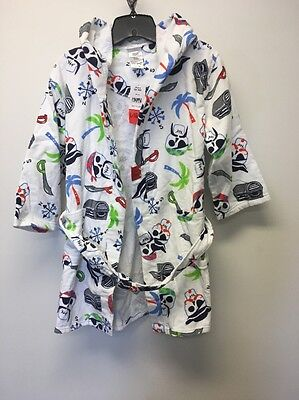 NWT Boys St. Eve Beach Cover-up Robe White Pirate Skull Sz L 10/12