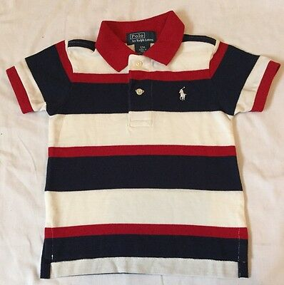 Ralph lauren Baby Boys Polo Size 12 Months Blue Red White New Without Tags