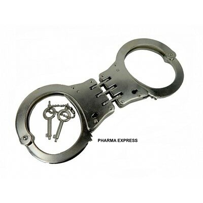 DOUBLE LOCKING HINGED POLICE Handcuffs + Keys STEEL TOP QUALITY - FREE SHIPPING